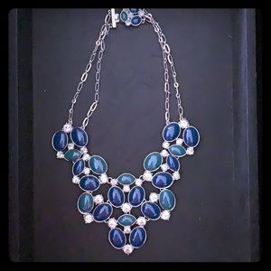 Banana Republic blue and jade statement necklace